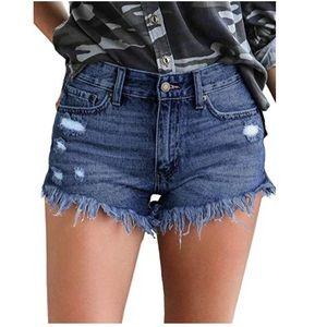 Blue Frayed Denim Shorts